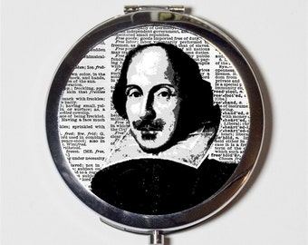 William Shakespeare Compact Mirror - Writer Author Gift for English Majors - Make Up Pocket Mirror for Cosmetics