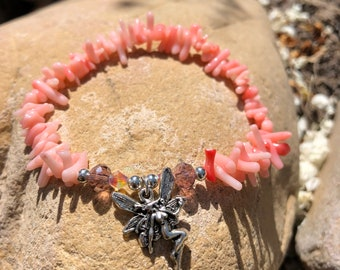 Fairies and Coral, Crystal Charm Bracelet