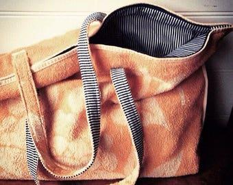 Beach bag/ towel bag/ stripe bag /oversized bag/ upcycled towelling bag