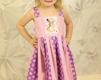 custom boutique dress made with tangled patch  size 2-6