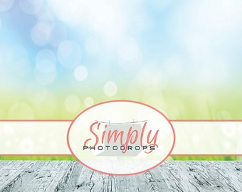 Flower Bokeh with wood Vinyl Photography Backdrop