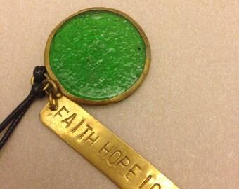 "Vintage ""Faith Hope Love"" Necklace"