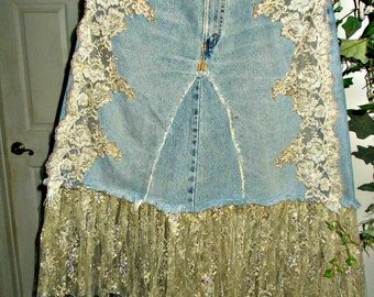 Vintage lace jean skirt  Renaissance Denim Couture antique French lace   mermaid belle bohémienne upcycled vintage Levi's Made to Order