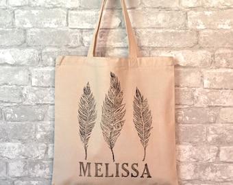 Personalized Bridal Tote, Custom Bridesmaid Tote Bag, Personalized Tote Bags for Women, Bachelorette Bag, Bridal Party Totes, Feather Print