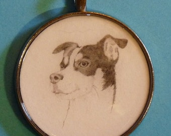 Rat Terrier Original Pencil Drawing Pendant with Organza Pouch -Choice of Necklaces -Free Shipping- Desert Impressions