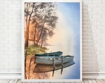 Rowboat Art Print from Original Watercolor Painting Boat Wall Art Decor Sea Art Print Original Artwork Sunrise Print Pastel Home Decor A177