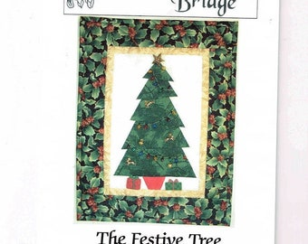 """The Festive Tree Quilt Pattern, A Paper Pieced Design 11 1/2"""" X 15"""" (29 cm X 38 cm), Denise McKenna, Quilted Christmas Tree, 2000"""