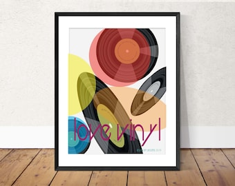 Vinyl record print, wall art, music print, music decor, Record print, modern art print, gifts for him