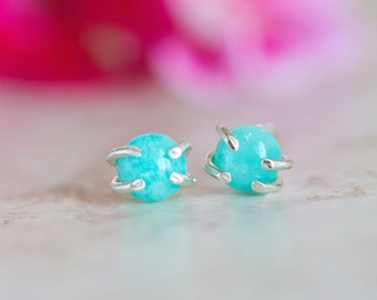 Amazonite Stud Earrings, Amazonite Silver Stud Earrings, Amazonite Earrings