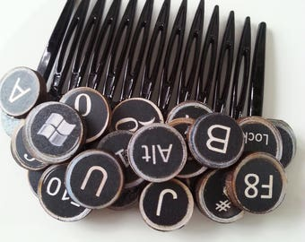 Secretary, type writer, letters and numbers, wood, wooden keys, hair comb, black comb, by NewellsJewels on etsy