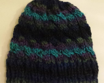 Knit Chunky Striped Hat - Navy Blue, Forest Green, Purple, Turquoise and Black