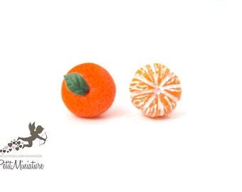 Earrings tangerine, fruit earrings miniature jewels for fruit lovers-pin for sensitive ears no nickel
