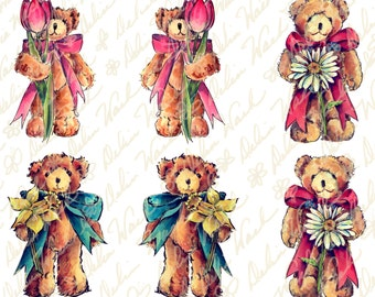 Flower for You Teddy Bear Ornaments - Digital Ornament Collage Sheet - Clip Art - Instant Download - Printable Files - Crafting