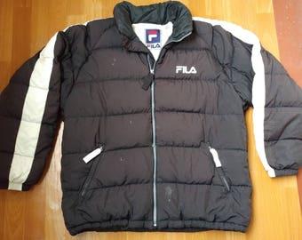 FILA jacket, vintage polyester puffer jacket of 90s hip-hop clothing, old school 1990s hip hop, black parka, gangsta rap, size XL