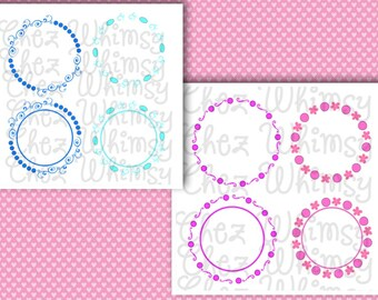 Circle Monogram Frames, Circles and Swirls Monogram Frames SVG Designs, Swirls and Dots for Monogram Frames SVG,  Files for Cutting