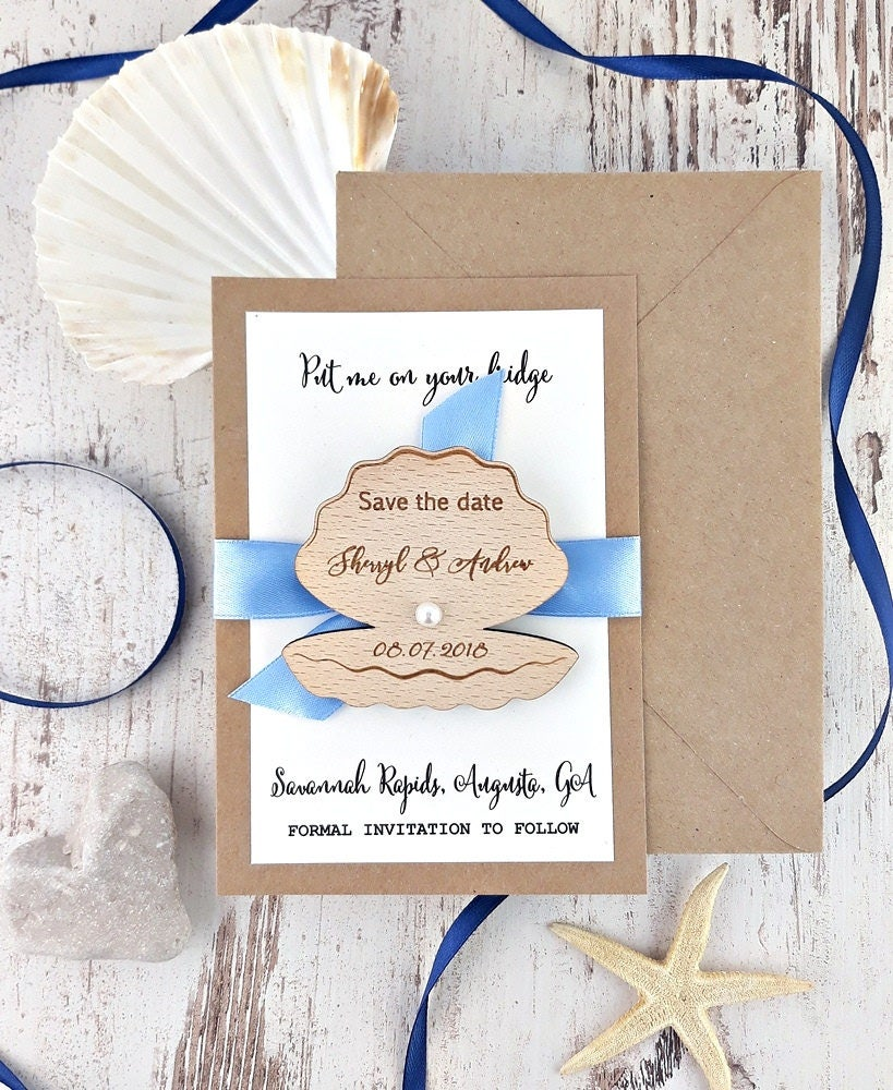beach save the date shell save the date magnet beach save the date