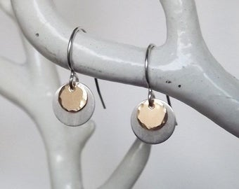 Silver Drop Earrings - Two Toned Earrings - Tiny Mix Metal Sterling and Gold Filled Disc Earrings - Everyday Earrings