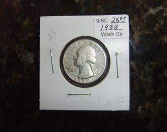 Vintage Coin Washington Quarter 1938 - Collectible Silver Quarter
