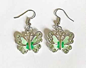 Green Butterfly Dangle Earrings