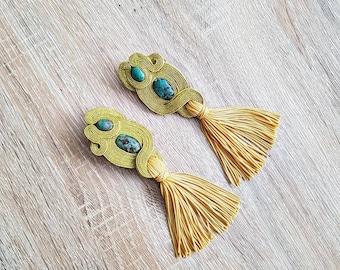 Soutache earrings in gold ,tassel earrings