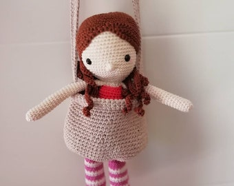 Clementine and his bag crocheted amigurumi plush doll