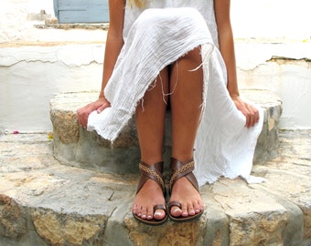 Wrap around the anlke sandals with cross stitched details, Women Sandals, in Six Colors. Thalia 02