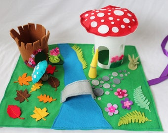 Woodland Play Mat - Felt Play Mat - Complete Set - Forest Play Mat Travel Play Mat - Roll Up Play Mat - Waldorf Inspired Toy - Ready to ship
