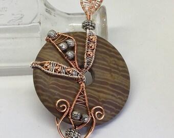 Brown zebra stone pendant