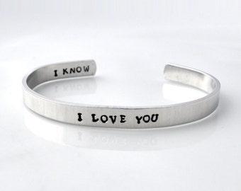 Personalized metal cuff bracelet, custom bracelet, aluminum cuff hand stamped bracelet, I love you, I know,metal stamping jewelry,jewelmango