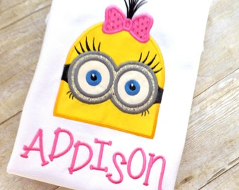 Minion Inspired T-shirt for Girls Pesonalized