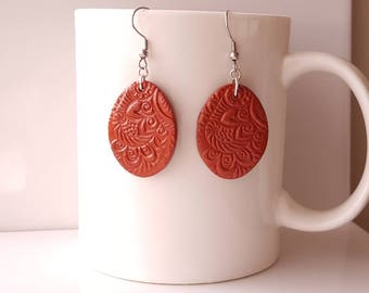 Hand-made earrings in fimo copper color/hand made polymer clay earrings auburn Color