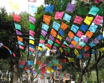 Mexican Papel Picado Banner | 5 meter (16ft) Banner with 10 Large Flags | Vibrant Handmade Mexican Party Decorations | Bulk Buy Discounts