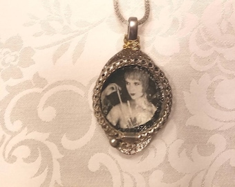Beautiful Altered Spoon Pendant/Slider with Necklace  Vintage Photo