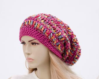 Winter slouchy beanie crochet beanie hat colorful for woman,pink,shades of pink