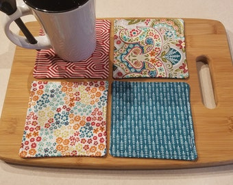 Quilted Reversible Fabric Coasters - Bold Floral and Rich, Colorful Fabric  - Set of 4