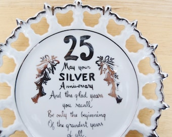 Vintage 25th Silver Anniversary Plate with Bells and Poem by Norcrest with Wall Hook