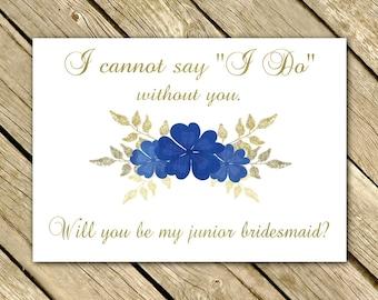 Will You Be My Junior Bridesmaid Proposal GOLD NAVY Blue Wedding Printable 5x7 Instant Download Digital File Jr. Bridesmaid