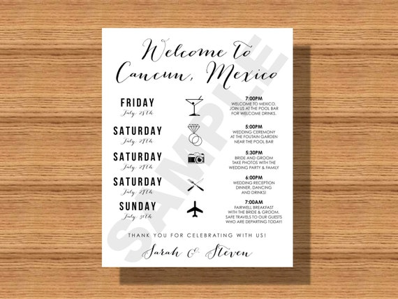 Destination Wedding Weekend Itinerary Wedding Schedule Of