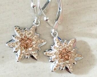 Swarovski Light Smoked Topaz Edelweiss Earrings, Sterling Silver
