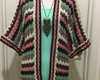 Colorful kimono pattern - one size fits 4 to 8 - adult women - non refund