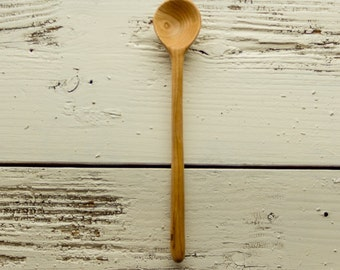 Wooden cooking, tasting and serving  spoon handmade in cherry deep round bowl and long handle interesting grain throughout