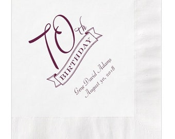 70th Birthday Party Napkins Personalized Set of 100 Napkins Seventieth