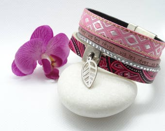 Pink and grey Cuff Bracelet