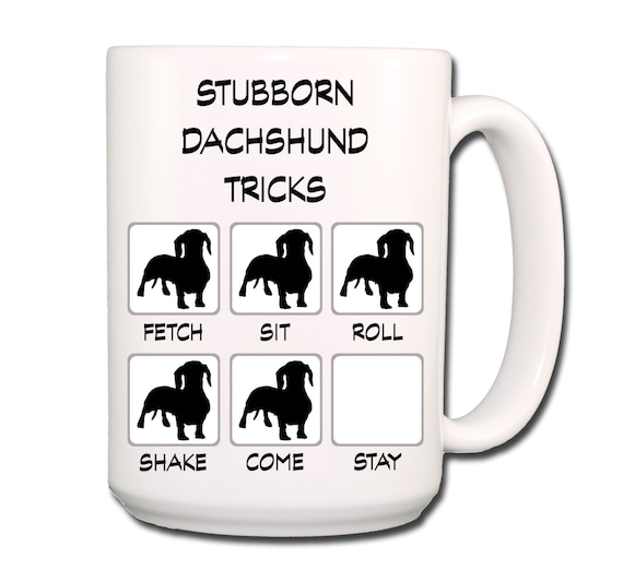 Dachshund Stubborn Tricks Large 15 oz Coffee Mug