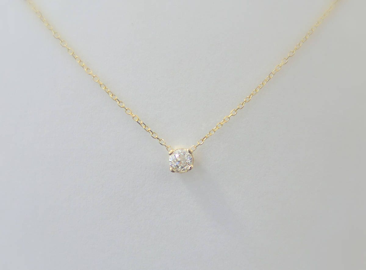 Diamond necklace 14k yellow gold delicate solitaire zoom aloadofball Choice Image