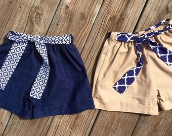 Back to school  uniform shorts belt girlpaperbag shorts kindergarten 1st grade 2nd grade 3rd grade