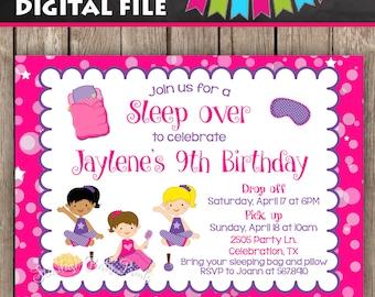 Slumber Party Birthday Invitation, Sleep over Birthday Invitation, Digital Invitation