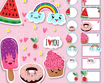 Ice cream clip Art and ice cream maker for personal and commercial use, labels, tags, cards, birthdays