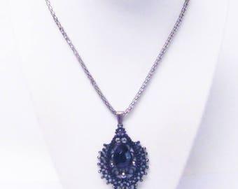 Black Faceted Cabochon on Metal Tear Drop Pendant Necklace