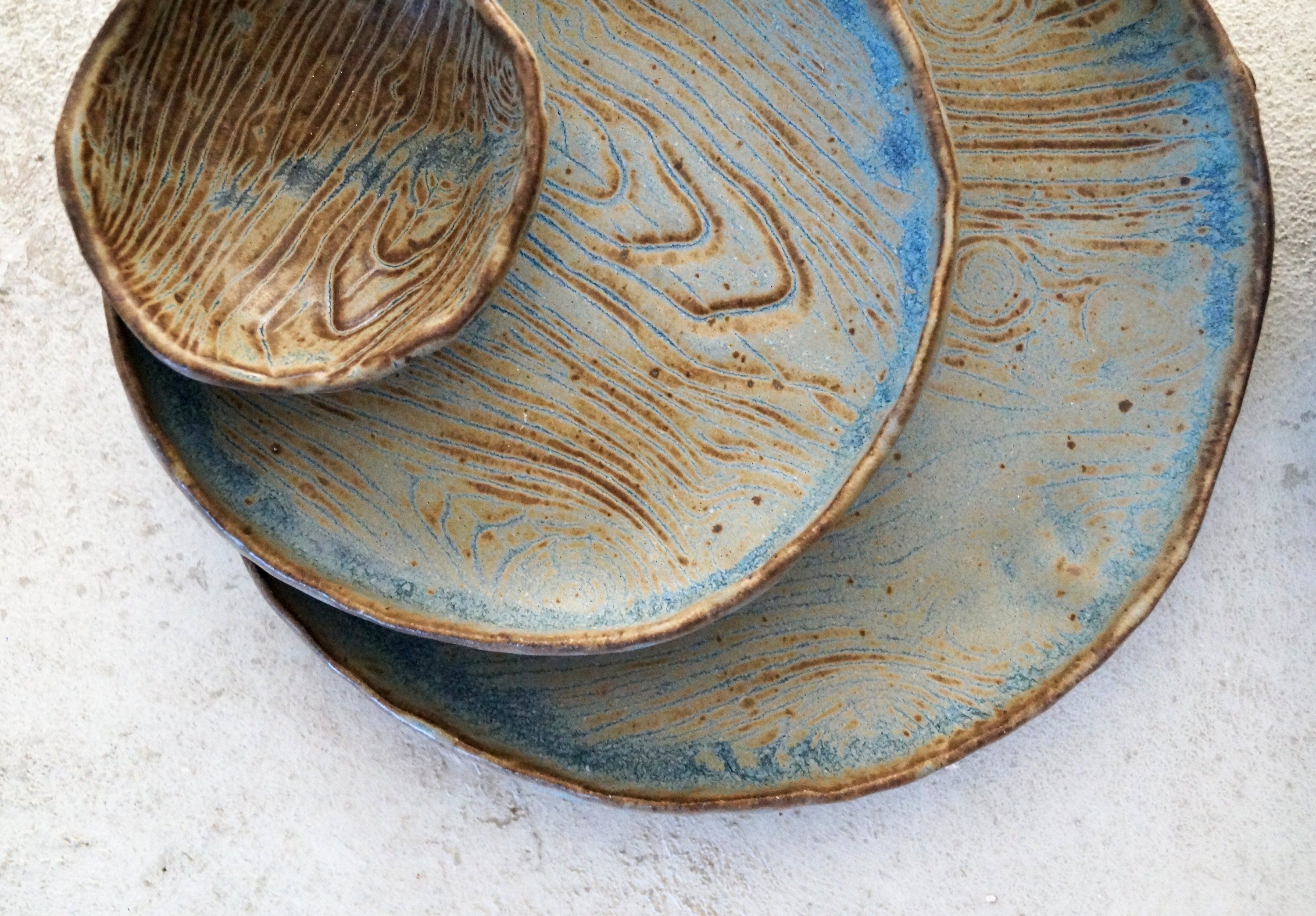 Handmade Ceramic Dish Set Ceramic Dinner Plates Serving/Decorative Pottery SetWood Texture Rustic Glaze Unique One of The Kind Gift. & Handmade Ceramic Dish Set Ceramic Dinner Plates Serving/Decorative ...